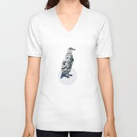 polka V-neck T-shirts featuring Penguin Polka by Paula Belle Flores