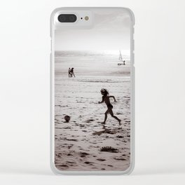 Foot on the beach Clear iPhone Case