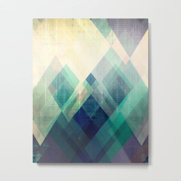 Mountains print, Abstract print, geometric wall art, abstract mountain, minimalist art, modern art, Metal Print