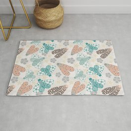 Pastel tone insects in flower field Rug