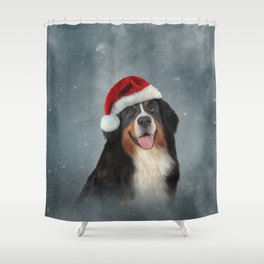 Bernese Mountain Dog in red hat of Santa Claus Shower Curtain