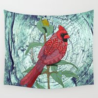 virginia Wall Tapestries featuring Virginia Cardinal by ArtLovePassion