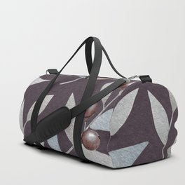 Silvery Leaves and Berries Watercolour Pattern Duffle Bag