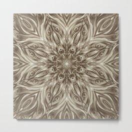 off white sepia swirl mandala Metal Print