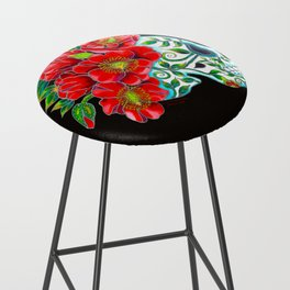 Sugar Skull with Red Poppies Bar Stool