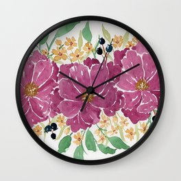 """""""Japanese Maple & Blueberry"""" loose floral bouquet watercolor illustration Wall Clock"""