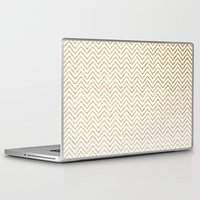 gold glitter Laptop & iPad Skins featuring Gold Glitter Ombre Chevrons by Doucette Designs