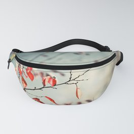 Red Teal Nature Photography, Aqua Blue Turquoise Botanical, Tree Branches Branch Fanny Pack
