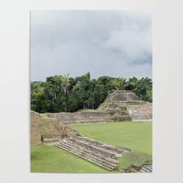 Altun Ha Mayan Ruins in the tropical jungle of Belize Poster