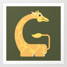 Letter G // Animal Alphabet // Giraffe Monogram Art Print