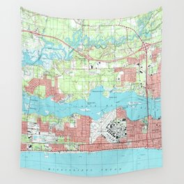 Biloxi Mississippi Map (1992) Wall Tapestry