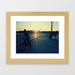 Bicycle Ride at Sunset Framed Art Print