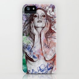 The Withering Spring: Wine (nude tattooed girl with flowers) iPhone Case