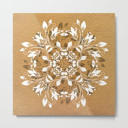 ELEGANT GOLD AND WHITE FLORAL MANDALA Metal Print