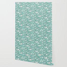 origami animal ditsy mint Wallpaper