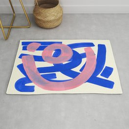 Tribal Pink Blue Fun Colorful Mid Century Modern Abstract Painting Shapes Pattern Rug