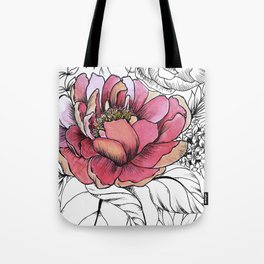 Painted Peony Garden Tote Bag