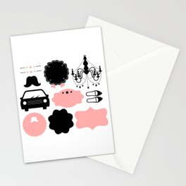Set of vintage design elements Illustration ( pink and black ) Stationery Cards