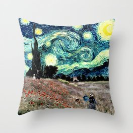 Monet's Poppies with Van Gogh's Starry Night Sky Throw Pillow