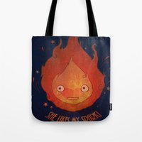 calcifer Tote Bags featuring She Likes My Spark! by princefox