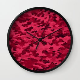 Foliage Abstract Pop Art Blush Red Wall Clock