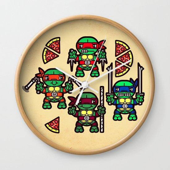 Teenage Mutant Ninja Turtles Pizza Party Wall Clock By