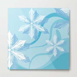 Winter Blue Flower Christmas Metal Print