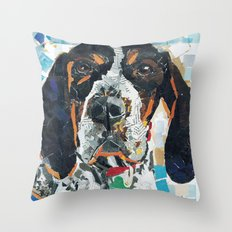 Huckleberry The Handsome Blue Tic Coonhound Throw Pillow