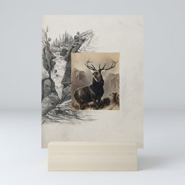 Landseer's Monarch of the Glen. Photograph with a pen and ink drawing of a waterfall. Mini Art Print