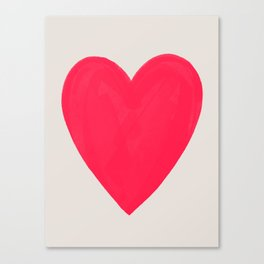 Big Neon Heart - Hot Pink Canvas Print
