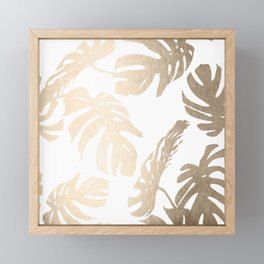 Simply Tropical Palm Leaves in White Gold Sands Framed Mini Art Print