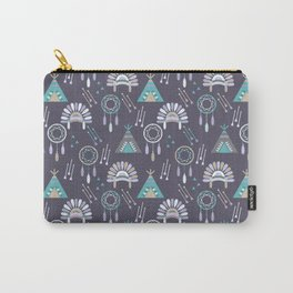 Indian Pattern Purple Carry-All Pouch