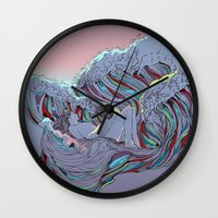 sunset Wall Clocks featuring Sunset by Huebucket