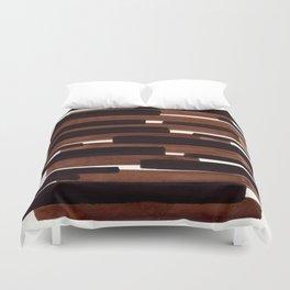 Dark Brown Primitive Stripes Mid Century Modern Minimalist Watercolor Gouache Painting Colorful Stri Duvet Cover