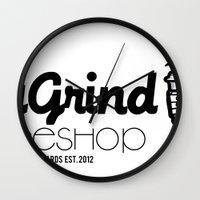 coffe Wall Clocks featuring Daily Grind Coffe Shop by Gnarleston