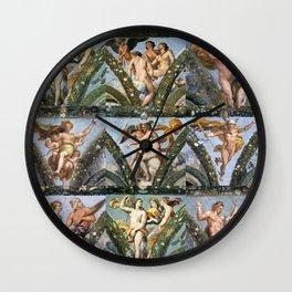 """Raffaello Sanzio da Urbino """"The Loggia of Psyche"""", 1517-18 Wall Clock"""