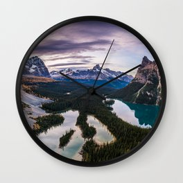 Rocky mountains mountain landscape winter forest Canada sunset Wall Clock