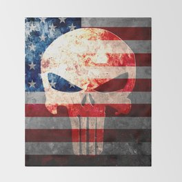 Skull and American Flag on Distressed Metal Throw Blanket