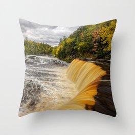 TAHQUAMENON FALLS MICHIGAN AUTUMN LANDSCAPE Throw Pillow