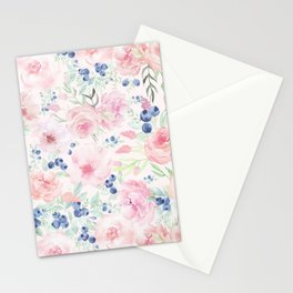 Midsummer Watercolor Roses And Blueberries  Stationery Cards