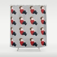 stiles stilinski Shower Curtains featuring STILES by oh, wolves