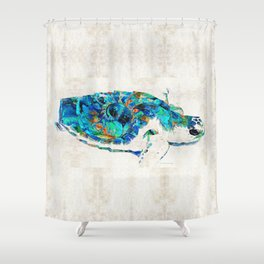 Blue Sea Turtle by Sharon Cummings Shower Curtain