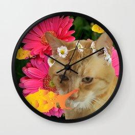 Orange Tabby Summer Dream Wall Clock