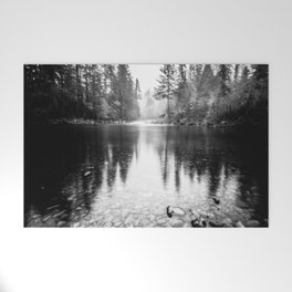 Forest Reflection Lake - Black and White  - Nature Photography Welcome Mat