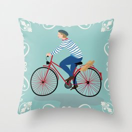 Vintage Style Frenchman on a Bicycle with Baguette Art Print Throw Pillow