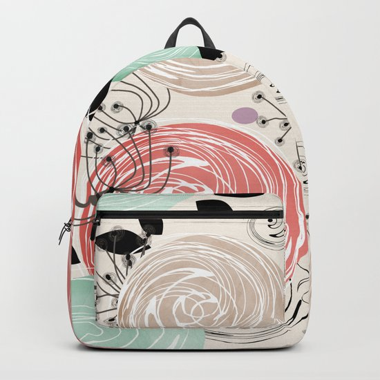 Retro . Abstract floral pattern. f Backpack