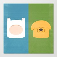 finn and jake Canvas Prints featuring Finn and Jake by Raquel Segal
