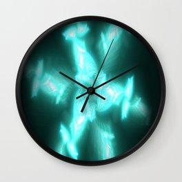Glowing Aqua Pinwheel Wall Clock