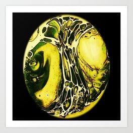 Tint Blot - Cracked Glass Yellow Art Print