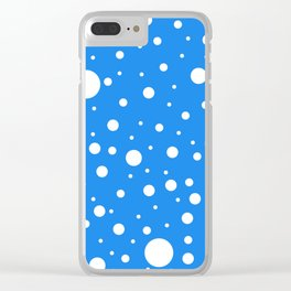 Mixed Polka Dots - White on Dodger Blue Clear iPhone Case
